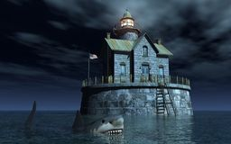Great white shark in front of a lighthouse in the sea. Computer generated 3D illustration with a great white shark in front of a lighthouse in the sea at night Stock Image