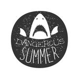 Great White Shark With Open Mouth Summer Surf Club Black And White Stamp With Dangerous Animal Silhouette Template Stock Image