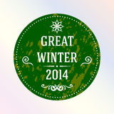 Great winter 2014. Green. Label. Royalty Free Stock Photo