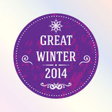 Great winter 2014. Purple. Label. Round sticker or label of purple color, ornate calligraphic elements. Label with inscription the Great winter 2014. In grunge Stock Images