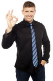 Great work done, keep up. Casual businessman gesturing in style Stock Image