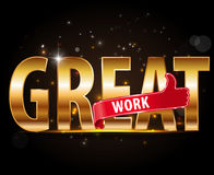 Great work stickers with hand thumbs up symbol. Royalty Free Stock Photography