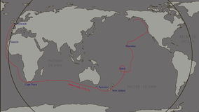 The great world tour - James Cook. James Cook. great geographical discoveries. trip around the world stock footage