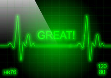 GREAT - written on green heart rate monitor Stock Images