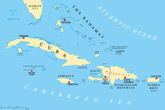 Greater Antilles political map stock photos