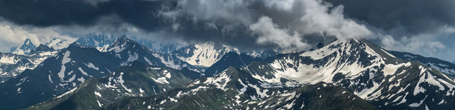 Greater Caucasus Mountain Range. Mountain peaks covered by snow. Royalty Free Stock Photos