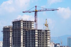 Greater construction. Greater building site with tower cranes Stock Photos