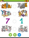 Greater less or equal activity. Cartoon Illustration of Educational Mathematical Activity Game of Greater Than, Less Than or Equal to for Children with Animal Royalty Free Stock Image
