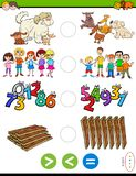 Greater less or equal educational puzzle game royalty free stock photos