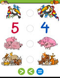 Greater less or equal game. Cartoon Illustration of Educational Mathematical Activity Game for Children with Animal Characters Royalty Free Stock Images