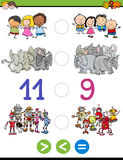 Greater less or equal for kids. Cartoon Illustration of Educational Mathematical Activity Game of Greater Than, Less Than or Equal to for Children with Animal Stock Photography