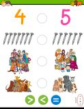 Greater less or equal maths puzzle game. Cartoon Illustration of Educational Mathematical Game of Greater Than, Less Than or Equal to for Kids with Objects and Royalty Free Stock Image