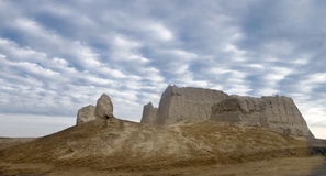 Greater Kyz Kala. Remains of Greater Kyz Kala ( maiden's fortress), Merv Oasis of the Karakum Desert, UNESCO World Heritage site,  Turkmenistan Royalty Free Stock Images