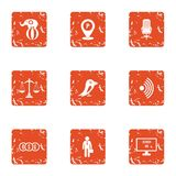 Greater money icons set, grunge style. Greater money icons set. Grunge set of 9 greater money vector icons for web isolated on white background Royalty Free Stock Photo