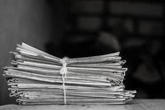 Greater pack of newspapers on a table Stock Image