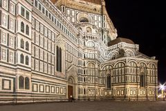 The Basilica di Santa Maria del Fiore at night, Florence, Italy. The Greatest church of Florence Basilica of Saint Mary of the Flower at night, Italy royalty free stock photography