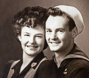 World War II U.S. Navy Veteran and Fiancee Royalty Free Stock Images
