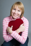 This is the greatest gift. Woman showing appreciation for gift box of valentines day chocolates Royalty Free Stock Image