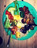 The Greatest healthiest buffet plate. Yummy the food is so healthy Royalty Free Stock Photography
