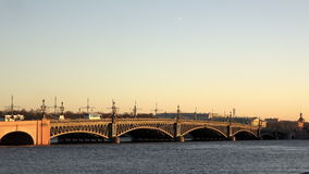 The greatest historic Trinity Bridge in the heart of St. Petersburg.  stock video footage
