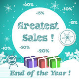 Greatest sales. Abstract colorful background with snowflakes, three gift boxes and the text greatest sales, end of the year written with blue letters. Winter Royalty Free Stock Photography