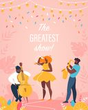 Greatest Show Vertical Banner Jazz Band Performing vector illustration