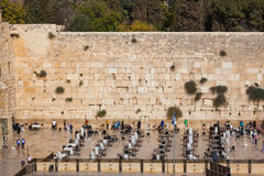 The greatest shrine of Judaism. The area in front of the greatest shrine of Judaism. The Western Wall of the Temple is preparing for evening prayer Royalty Free Stock Photos