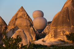 The greatest tourist attraction of Cappadocia , the flight with the balloon at sunrise Royalty Free Stock Photography