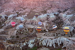 The greatest tourist attraction of Cappadocia , the flight with the balloon at sunrise Royalty Free Stock Photo