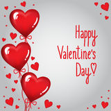 Greating_card_with_balloons_for_Valentines_Day Lizenzfreie Stockfotos