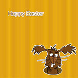 Greating card - easter (vector). Illustration for easter card, funny easter bunny on yellow stripes background, vector Royalty Free Stock Photos