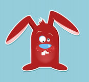 Greating card - easter (vector). Illustration for easter card, simple red easter bunny on blue stripes background, vector Royalty Free Stock Images