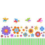 Greating card with naive style colorful flowers and birds Royalty Free Stock Images