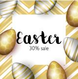 Greating Easter greeting card, realistic gold easter eggs on bright background with gold elements .Inscription sale 30 Stock Photo