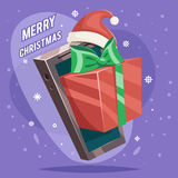 Greating Gift Christmas New Year Card Mobile Phone Cartoon Design Vector Illustration Royalty Free Stock Photography
