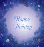 Greating Karte des glücklichen Feiertags im violetten blauen träumenden Winterwetter, feenhaftes Winterurlaubkonzept, stock abbildung