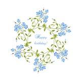Greating kort för vattenfärgfödelsedag med kransen Royaltyfri Illustrationer
