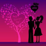 Greating Valentines card with  couple Stock Photo