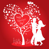 Greating Valentines card with dancing couple. Greating Valentines day card with tree of hearts, doves and dancing couple Stock Photos