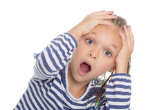 Greatly surprised little girl Royalty Free Stock Image
