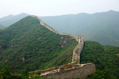 Greatwall in green hills Royalty Free Stock Photo