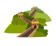 Greatwall vector icon. Chinese abstract landscape. Travel landmark, isolated on white background. Flat cartoon vector illustration Royalty Free Stock Photography