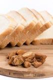 Greaves na plasterek grzanki chlebie obrazy stock