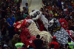 Grebeg cultural traditions Sudiro. Thousands of people saw the Chinese New Year carnival that took the start in the Market Gedhe Solo, Sunday (31/01/2016) Stock Images
