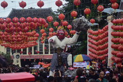 Grebeg cultural traditions Sudiro. Thousands of people saw the Chinese New Year carnival that took the start in the Market Gedhe Solo, Sunday (31/01/2016) Stock Photos