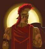 Grec Spartan Warrior ou soldat de Trojan tenant le bouclier et l'épée Photographie stock