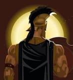 Grec Spartan Warrior ou soldat de Trojan tenant le bouclier et l'épée Photo stock