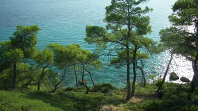 Grecce. Green side of Greece seaside with turquoise water stock photos