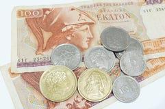 Greccy starzy waluty drachmy banknoty na bielu Zdjęcia Royalty Free
