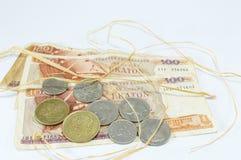 Greccy starzy waluty drachmy banknoty z słomą Obrazy Stock